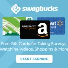 """Giftcards from Starbucks, Amazon and Walmart featured on a blue background. Text reads """"swagbucks Free gift cards for taking surveys, watching videos, shopping & more. Start Earning"""""""