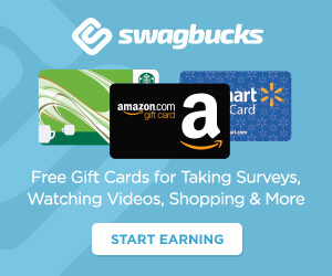 "Giftcards from Starbucks, Amazon and Walmart featured on a blue background. Text reads ""swagbucks Free gift cards for taking surveys, watching videos, shopping & more. Start Earning"""