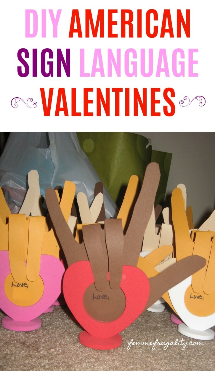 Pinning so I can help my kids make these sign language Valentines in February!