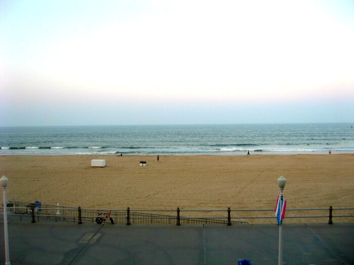 The view from our insanely clean and affordable Virginia Beach hotel.