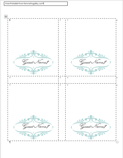 How To Make Your Own Place Cards For Free With Word And Picmonkey Or Just Use My Template Femme Frugality