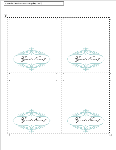 fold over place cards template