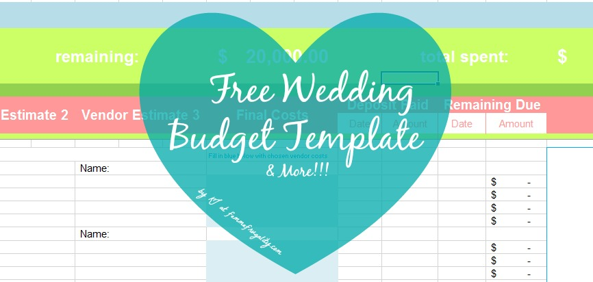 Printables Free Wedding Budget Worksheet stick your as on a budget femme frugality free wedding template