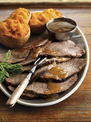Cider-Maple Gravy Pot Roast with Butternut Squash. So excited to try this recipe!
