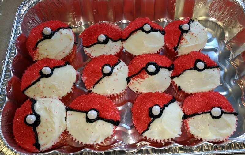 Here's how to make Poke Ball cupcakes for a Pokemon birthday party.