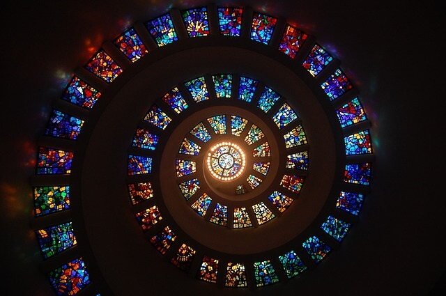 Stained glass spiral at Thanks-Giving Square in Dallas