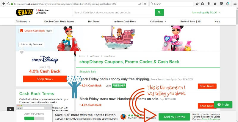Get cashback from your Disney shop using Ebates.