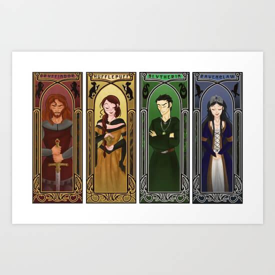 Godric Gryffindor. Helga Hufflepuff. Rowena Ravenclaw. Salazar Slytherin.