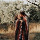 couple kissing nature