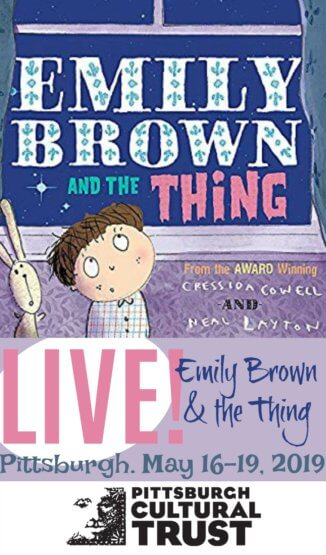 "Cartoon of a little girl looking out the window at the stars. Title printed on the book ""Emilay Brown and the Thing"" Text beneath reads ""Live! Emily Brown & the Thing Pittsburgh May 16-19, 2019 Pittsburgh Cultural Trust"""