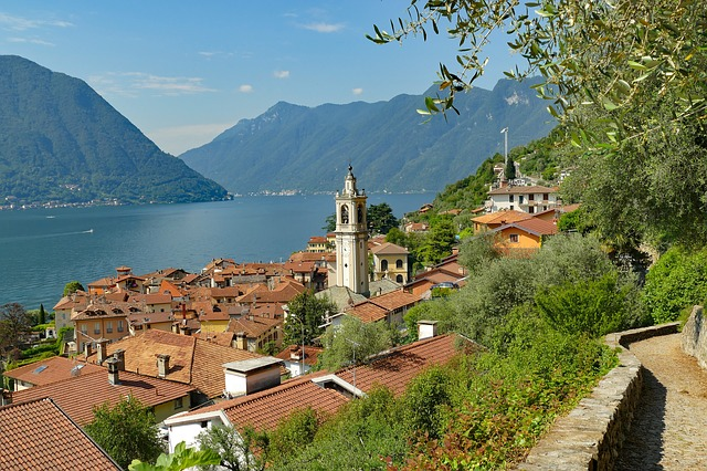 Italian village nestled into a hillside on the banks of Lake Cuomo