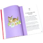 "picture of an open book with an illustration of a cat sitting on money on a solid purple background. Heading on the next page reads ""2"" for the chapter number, and then, ""Purrrfecting the Budget"""