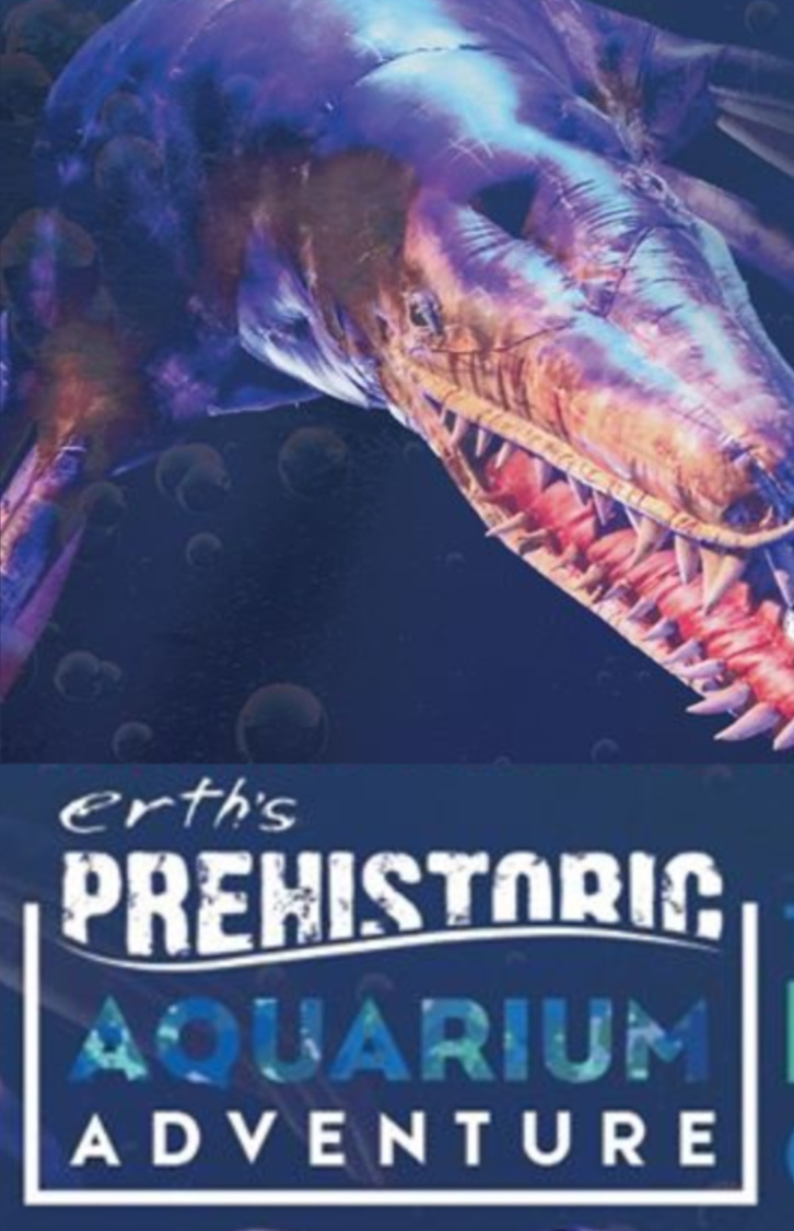 "Giant swimming dinosaur puppet and the words: ""Erth's Prehistoric Aquarium Adventure"""