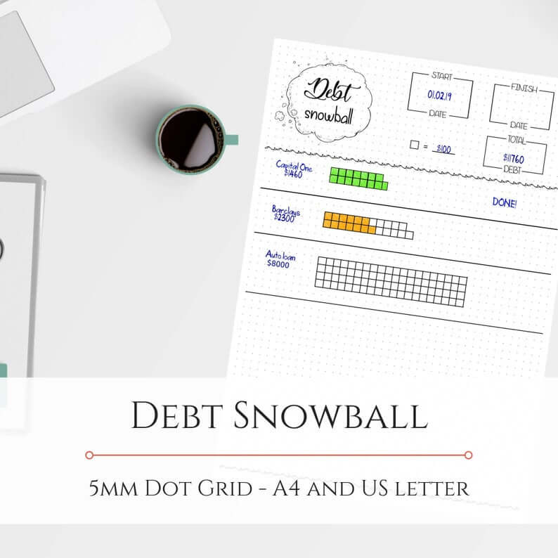 Debt snowball tracker visual tracking sheet on a white table.