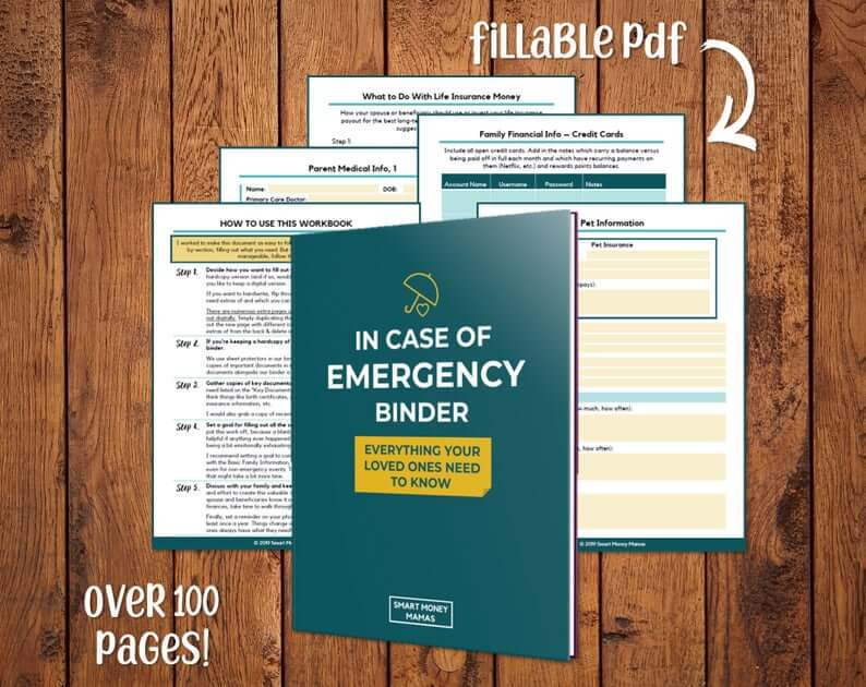 Forms where you can record financial information overlaid with a blue cover reading 'In Case of Emergency Binder'