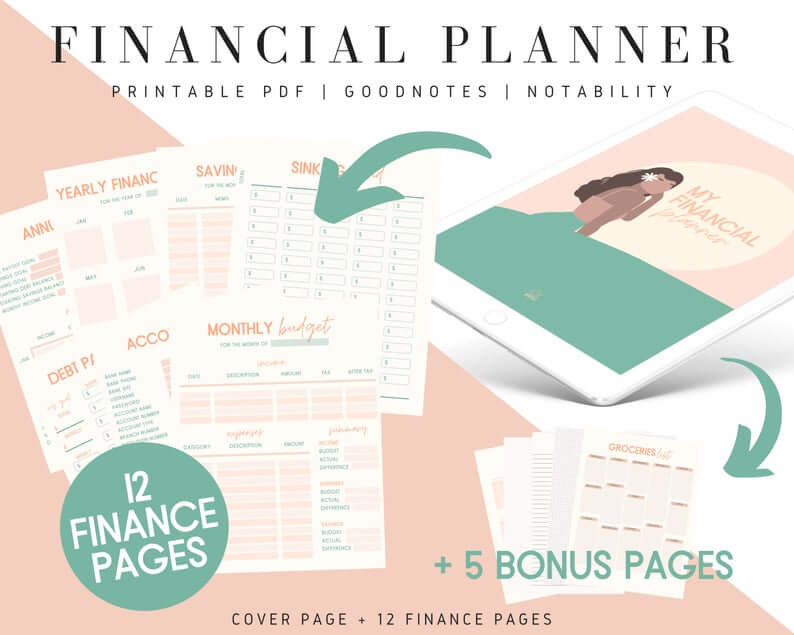 Image of printed pages from a downloadable budget planner.