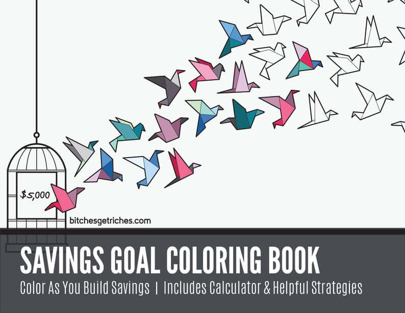 Origami birds flying out of a cage. Some are partially colored. Text reads 'Savings Goal Coloring Book'