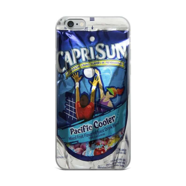 clear iphone case that looks like a capri sun pouch on the back