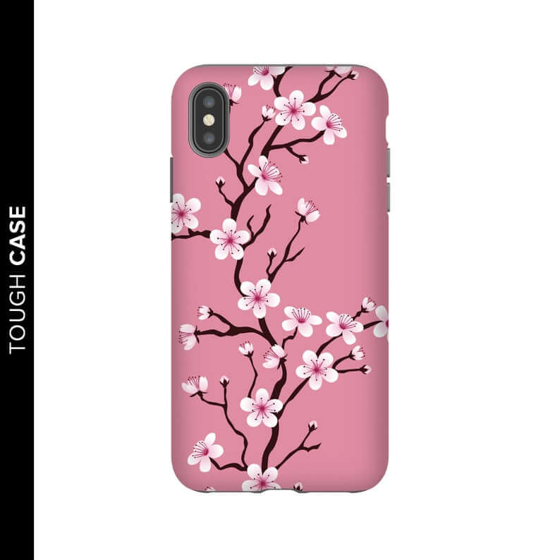"Black bar on the left reads ""tough case"". Remainder of image is white background with dark pink iphone case. Sakura cherry blossoms are painted on the case in white and pink on black branches."