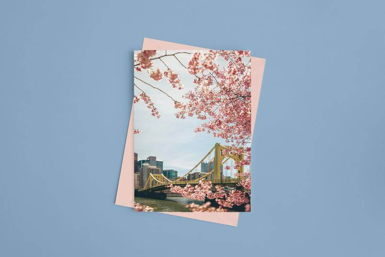 gretting card featuring one of the three sisters bridges in pittsburgh, shot from an angle where you can see a small part of downtown in the background. In the foreground are pink spring flower blossoms.