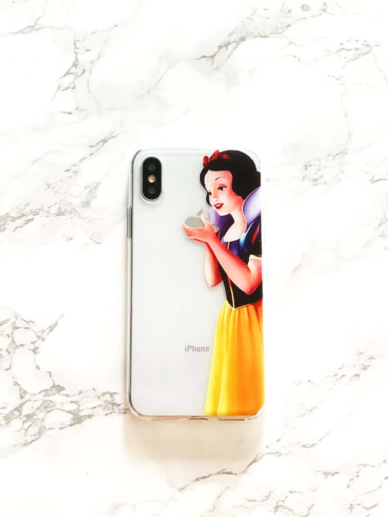 clear iphone case that makes it look like disney's snow white is holding the apple, enthralled in examining it.
