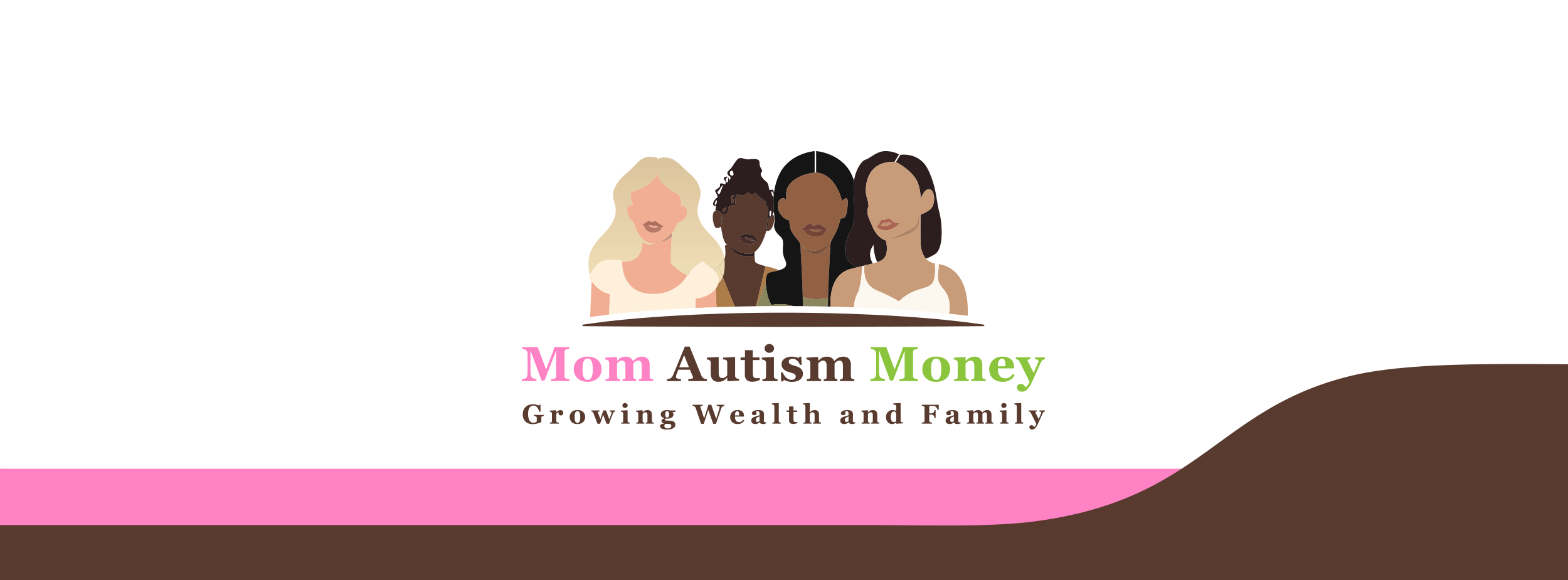 Silohette art of a group of women. Beneath reads 'Mom Autism Money: Growing Wealth and Family'